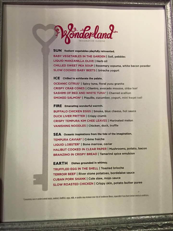 Royal Caribbean Wonderland menu