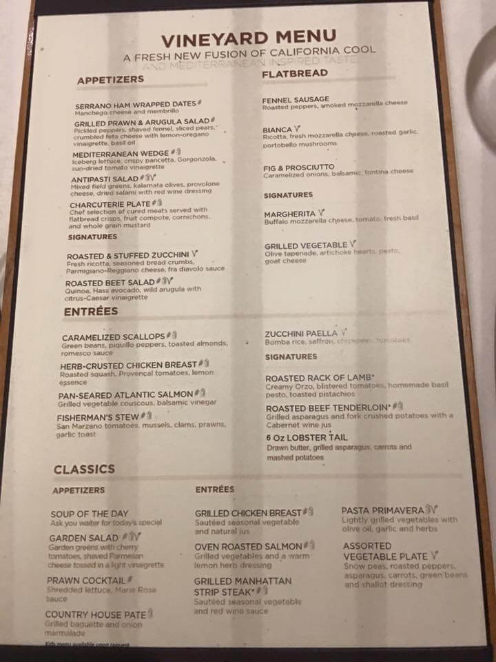 Royal Caribbean coastal kitchen Vineyard Menu