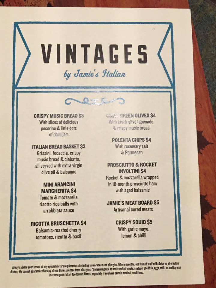 Royal Caribbean vintages food menu