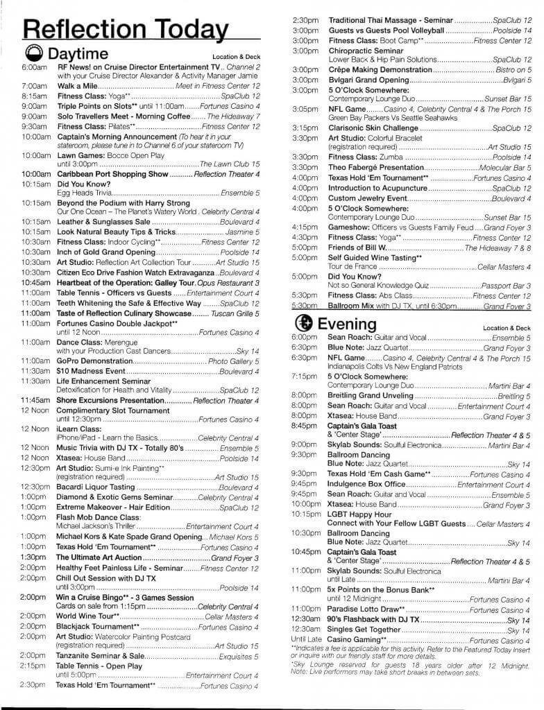 Celebrity Reflection Today Daily Activity planner-5