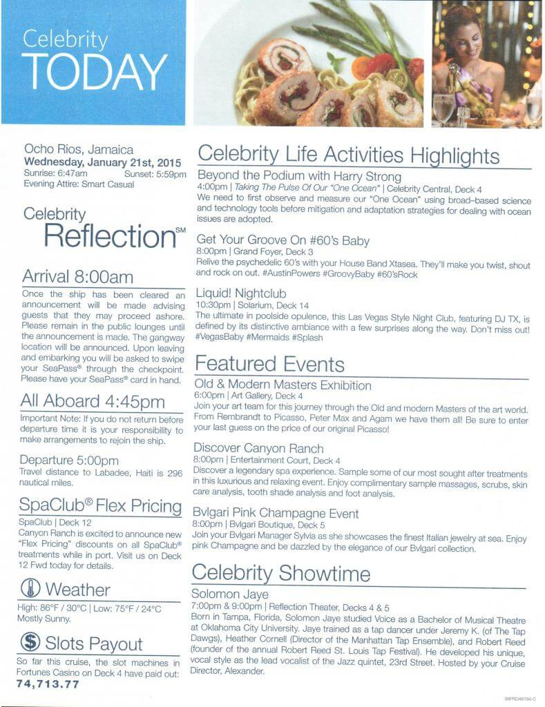celebrity reflection today daily activity planner  u2013 cruise