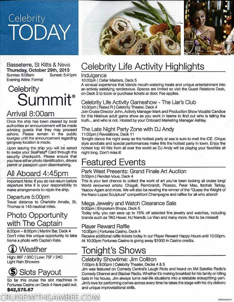 Celebrity Summet Today Daily Activity planner-14
