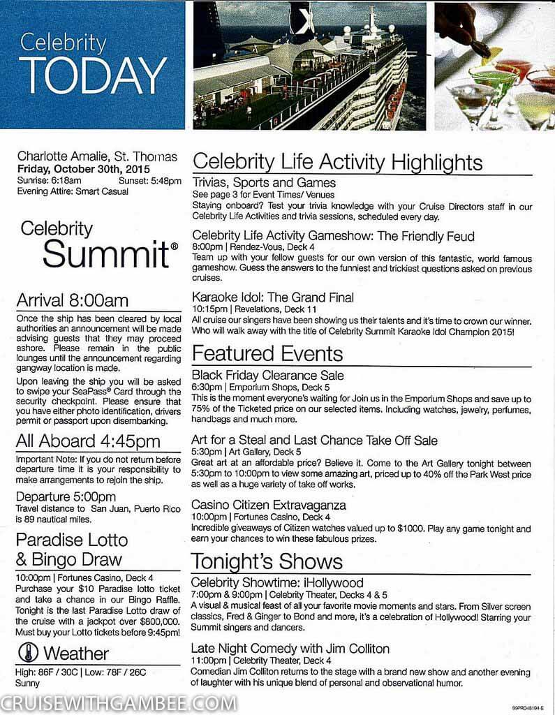Celebrity Summet Today Daily Activity planner-17