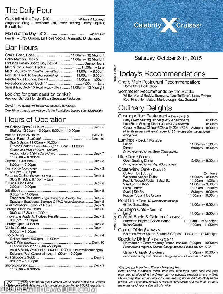 Celebrity Summit Today Daily Activity Planner Cruise
