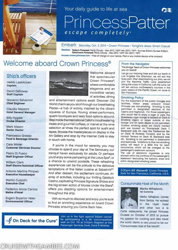 Crown Princess Patter Daily Activities-1