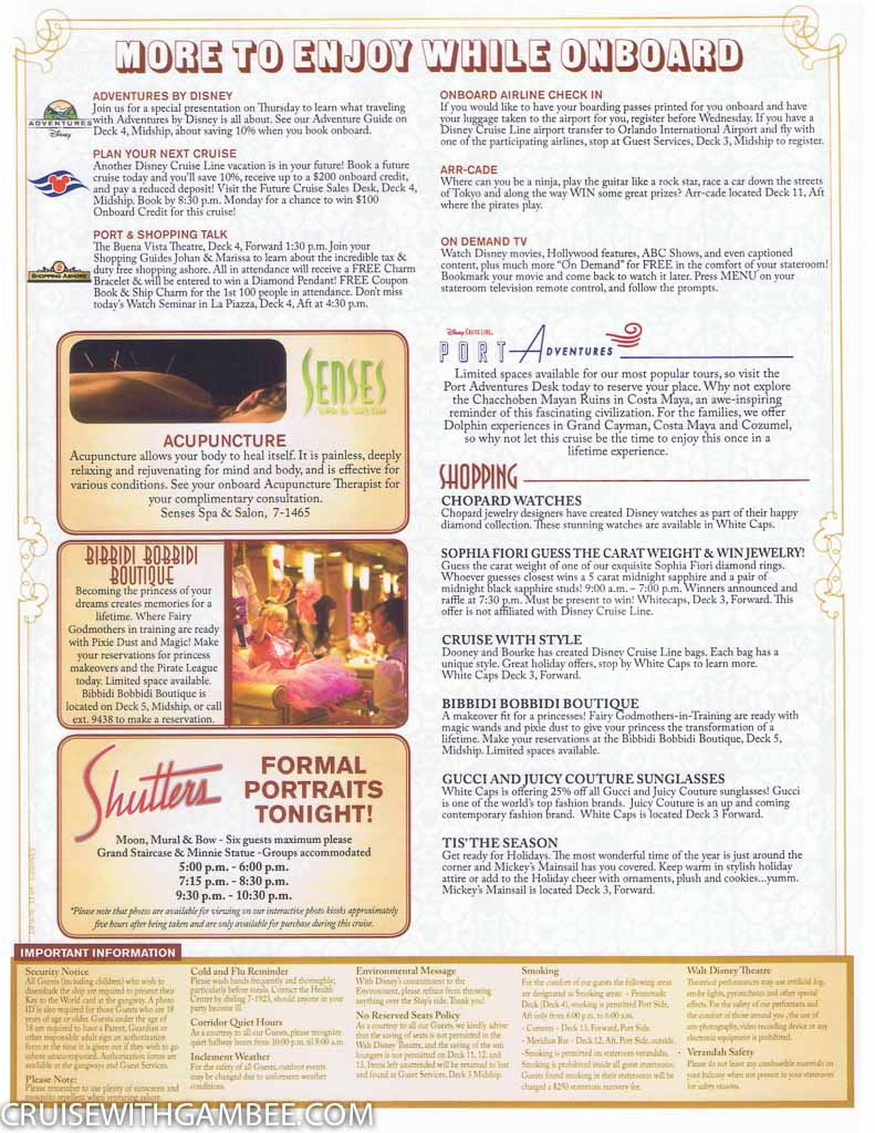 Disney Fantasy Navigator Daily Activity Planner Cruise With Gambee