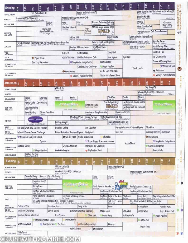 Disney Fantasy Navigator Daily activity planner - cruise with gambee