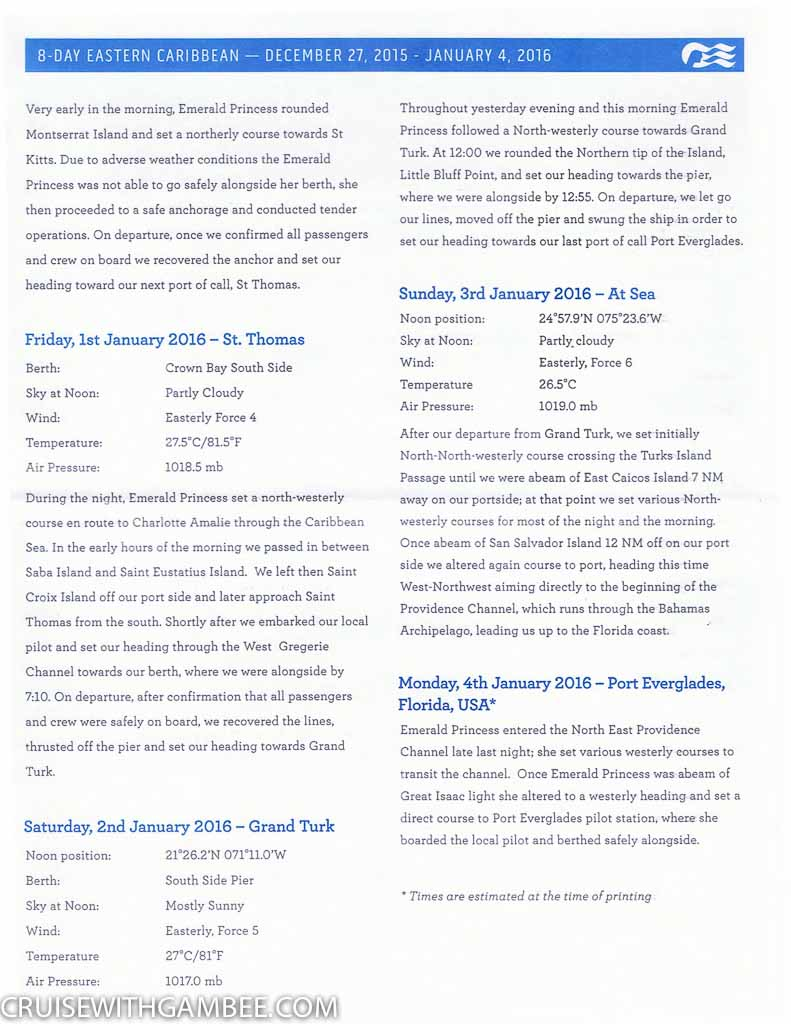 Emerald Princess Patter Daily Activity planner-31