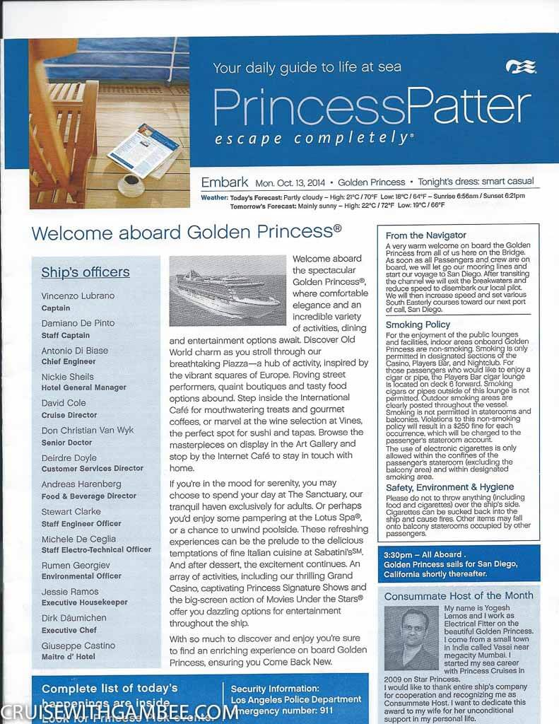 Golden Princess Patter Daily Activities-1