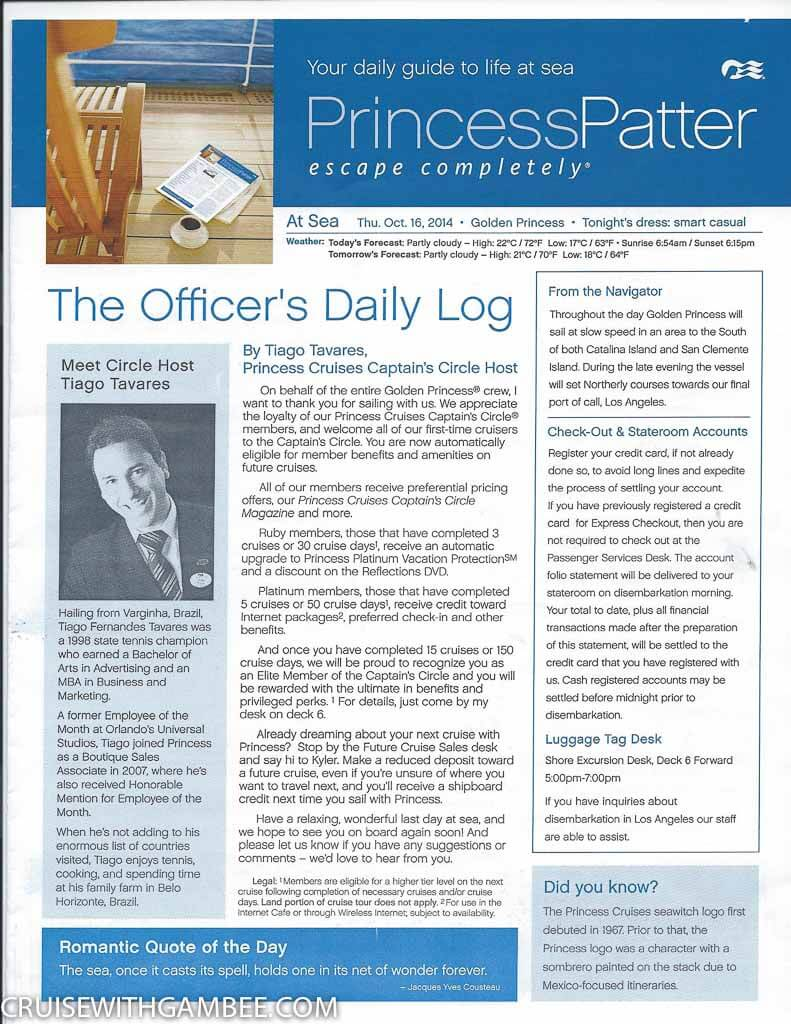 Golden Princess Patter Daily Activities-13
