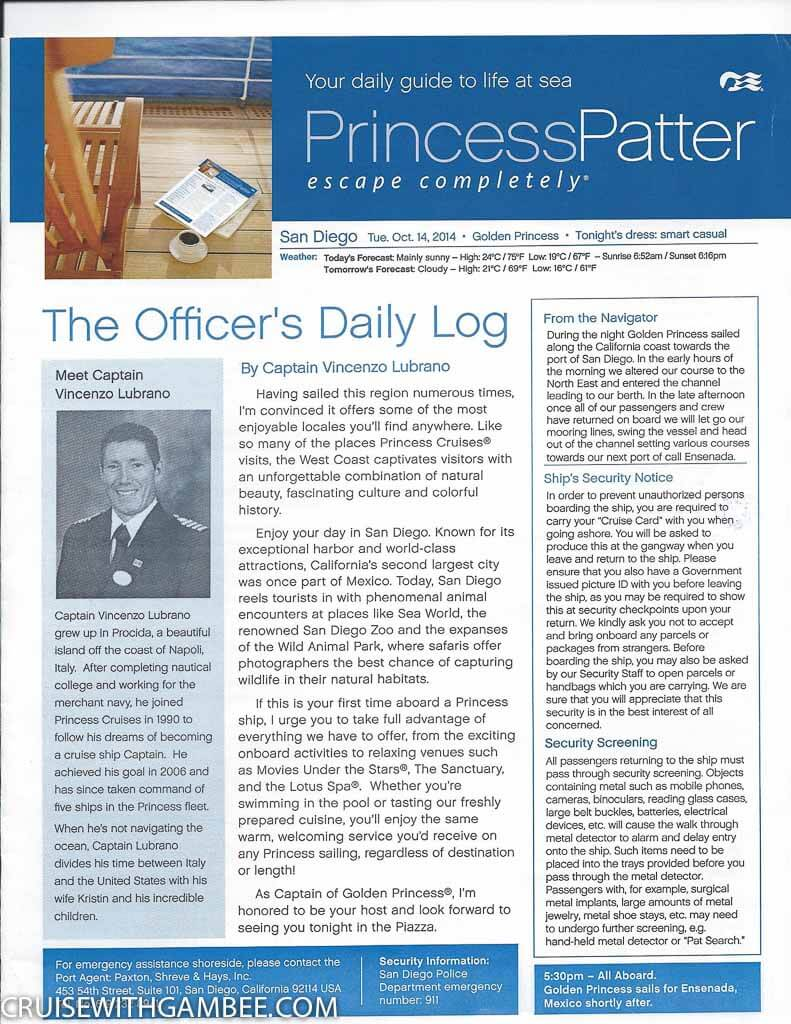 Golden Princess Patter Daily Activities-5