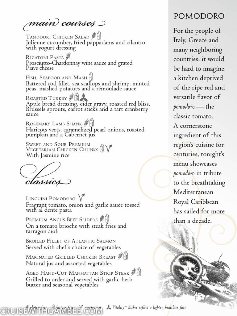 Royal Caribbean Main Dining Room Menus Cruise With Gambee