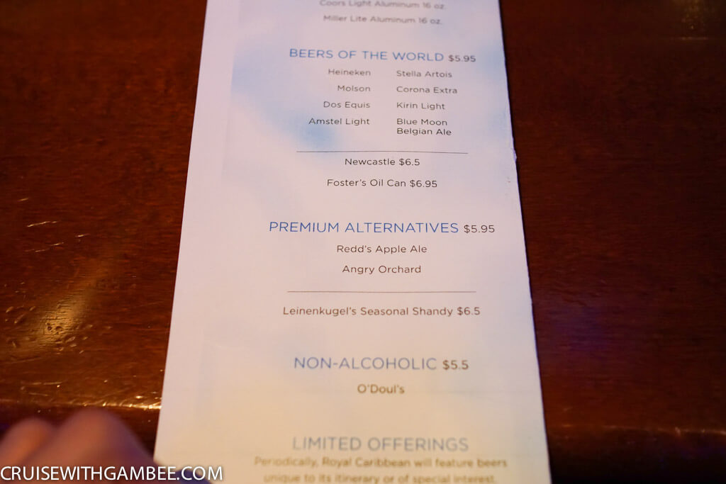 Royal Caribbean Drink Prices-7
