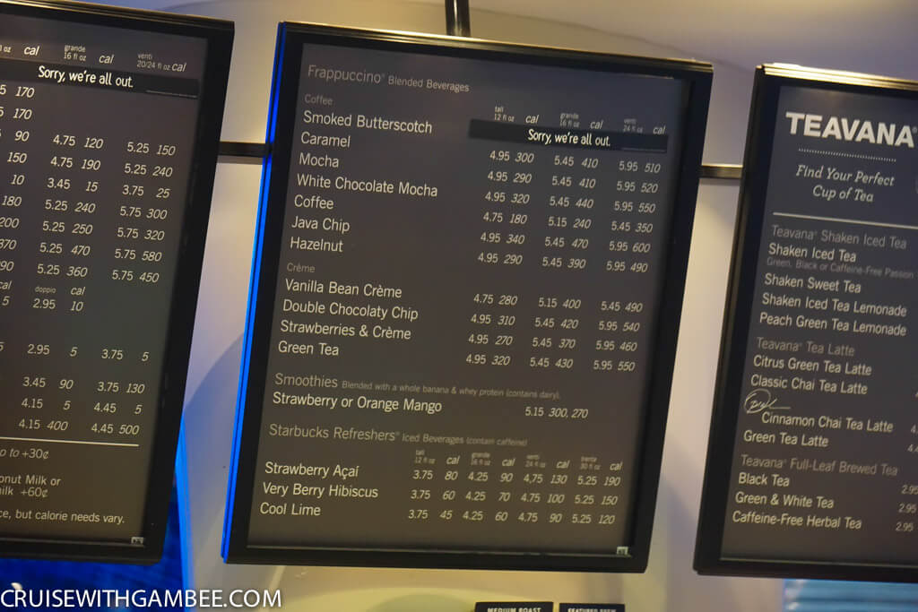 Royal Caribbean Drink Prices - Starbucks prices