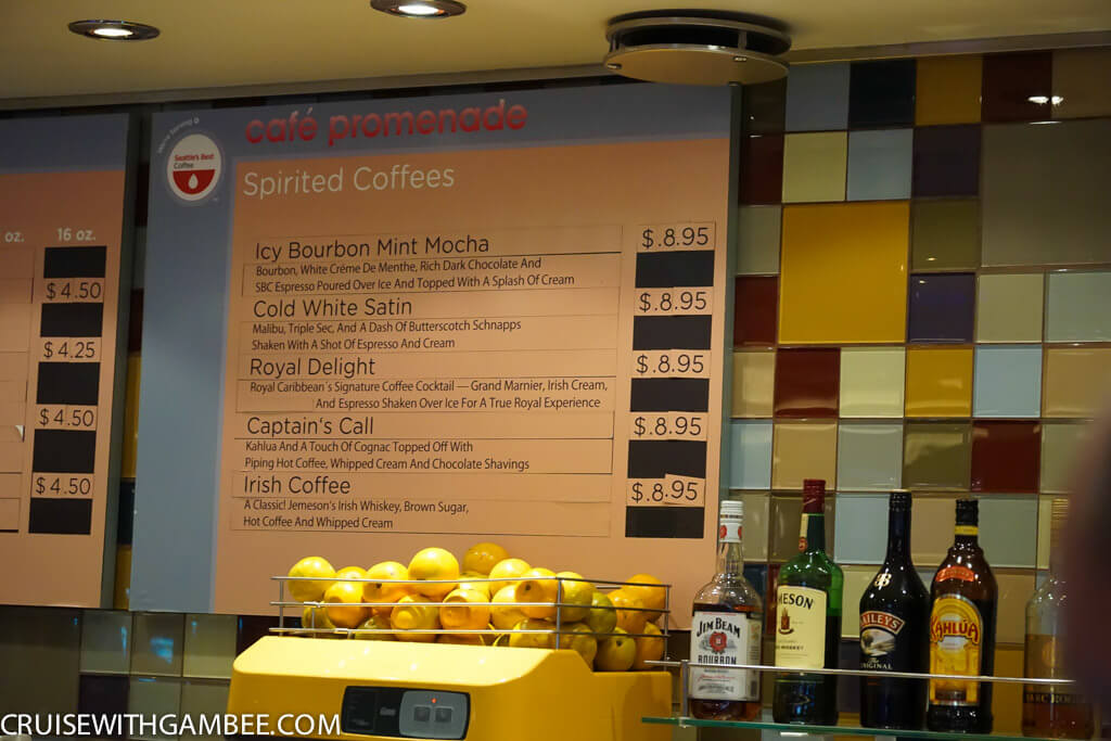 Royal Caribbean Drink Prices - Coffees and teas.
