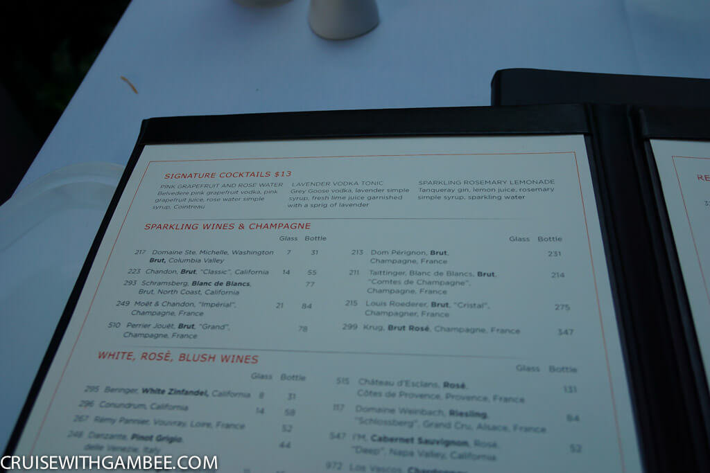 Royal Caribbean Drink Prices - Chops wine list