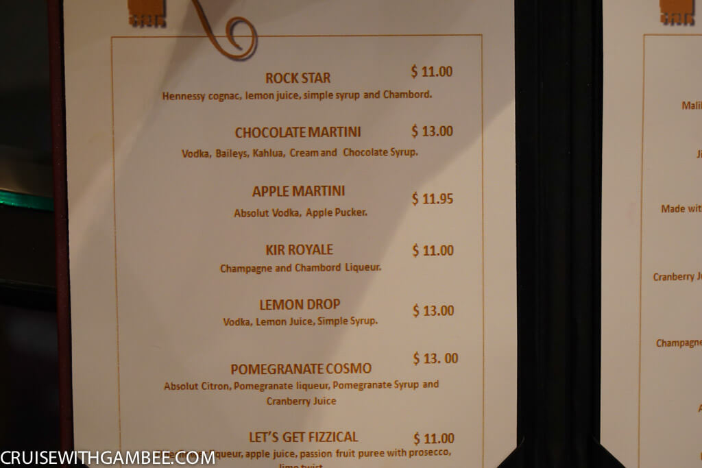 Royal Caribbean Drink Prices - champagne bar menu