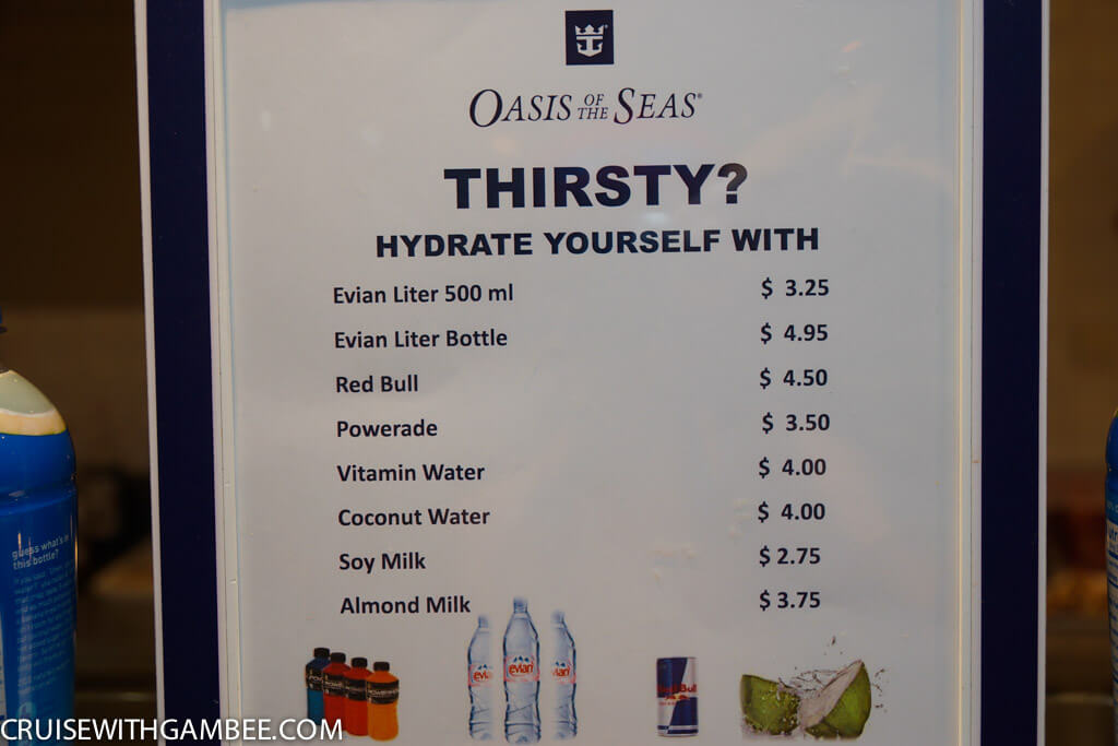 Royal Caribbean Drink Prices - Water, Red Bull, powerade, vitamin water