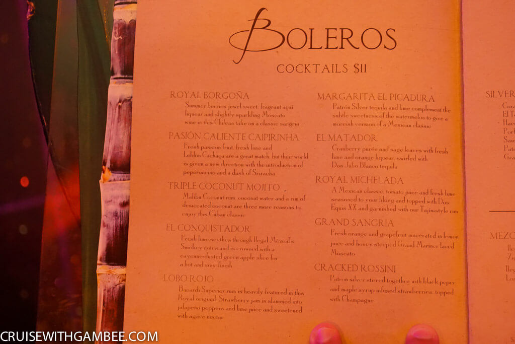 Royal Caribbean Drink Prices - Boleros drinks