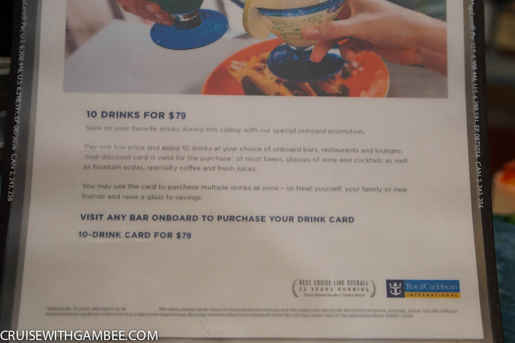 Royal Caribbean oasis of the seas drink prices-45