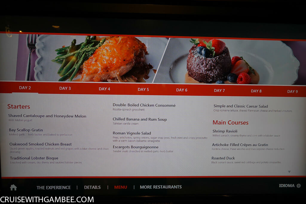 Royal Caribbean main dining room menu - MDR