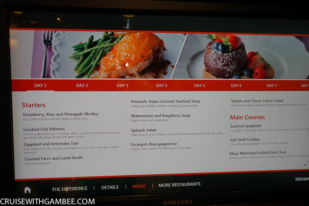 Royal Caribbean Main Dining room menu