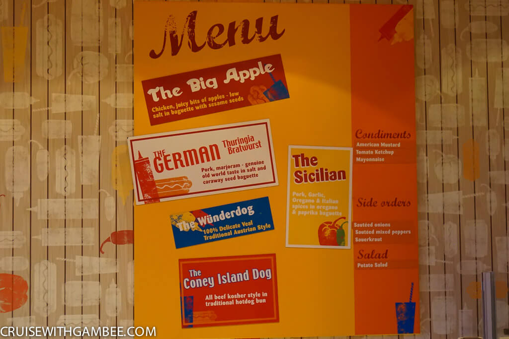 Royal Caribbean Hot Dogs menu