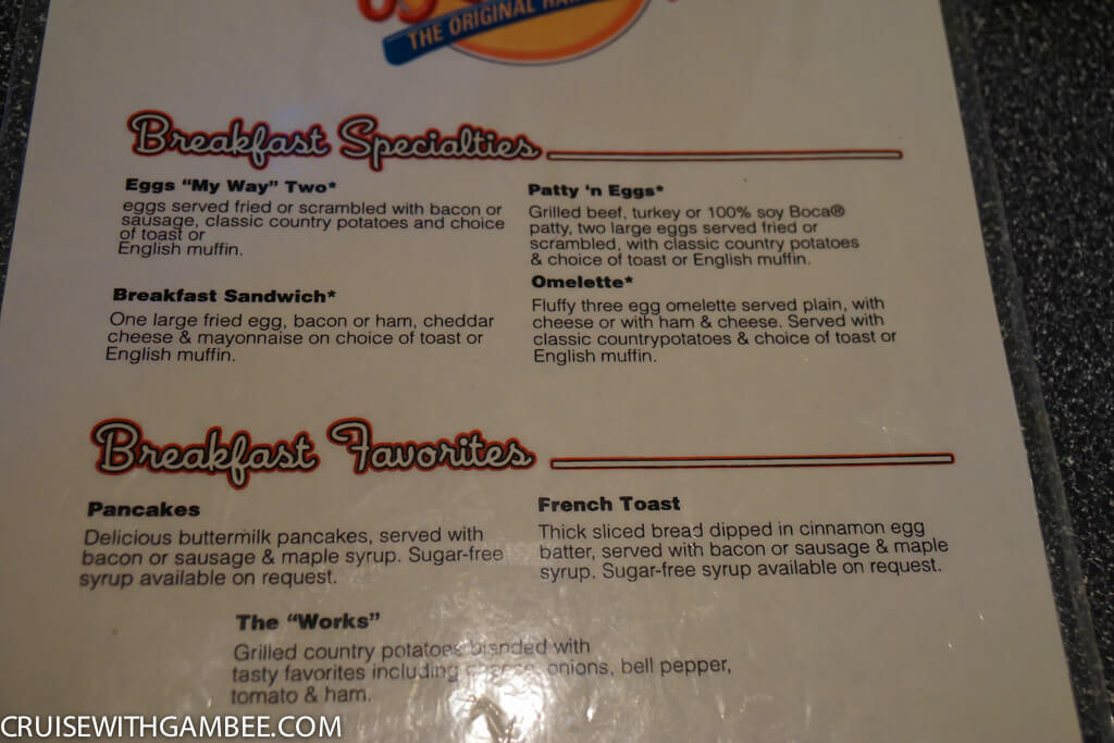 Royal Caribbean johnny rockets menu