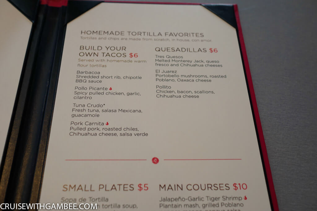 Royal Caribbean Sabor menu