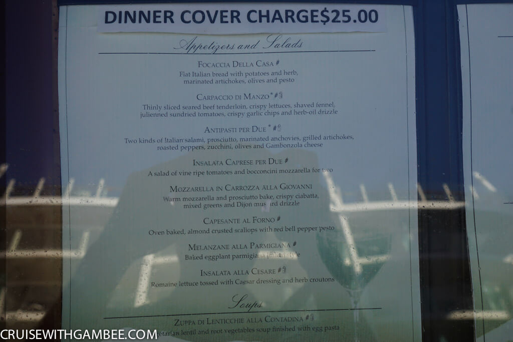 royal caribbean giovanni's table Menu