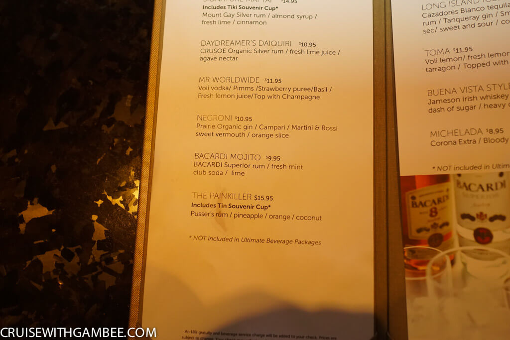Norwegian Escape Mix drinks prices