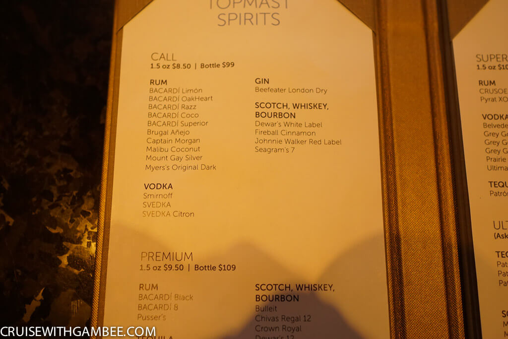 Norwegian Escape top shelf spirits prices