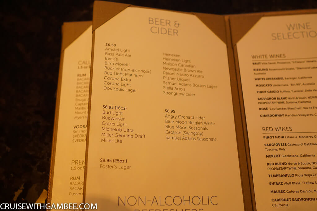 Norwegian Escape beer prices
