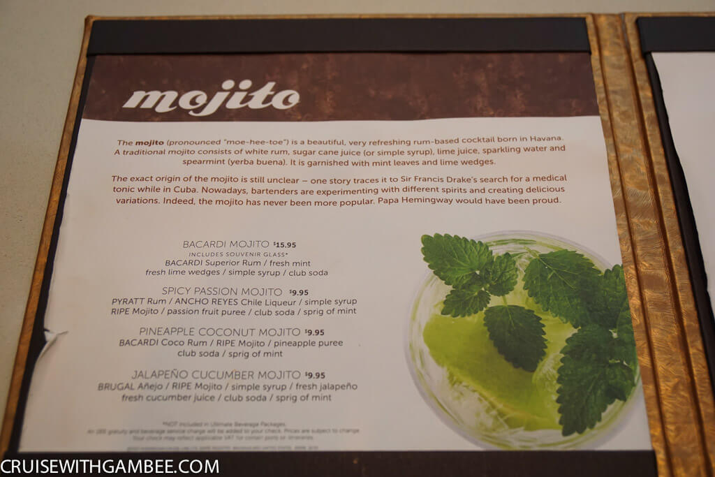 Norwegian Escape Mojito bar drink prices