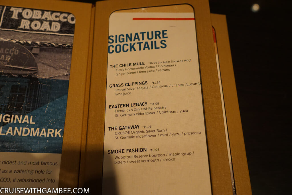 Norwegian Escape Tobacco Road bar drink prices