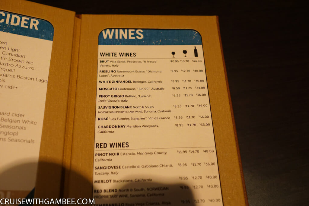 Norwegian Escape Drink Prices-51