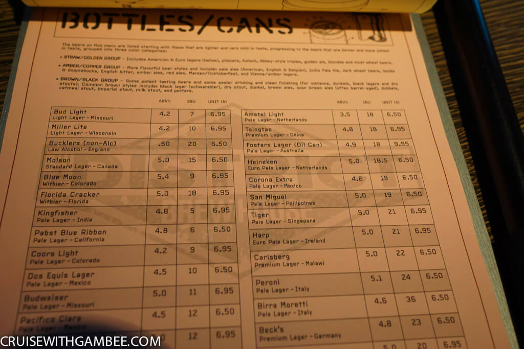 Norwegian Escape District Brew House beer prices