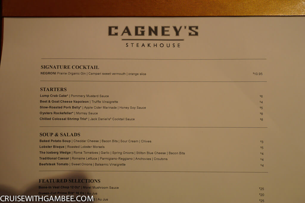Norwegian Escape Cagney's Steakhouse Menu