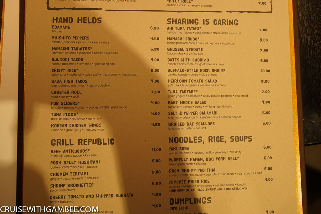 Norweigan Escape Food Republic Menu