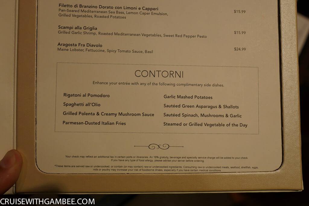Norwegian Escape La Cucina Menu