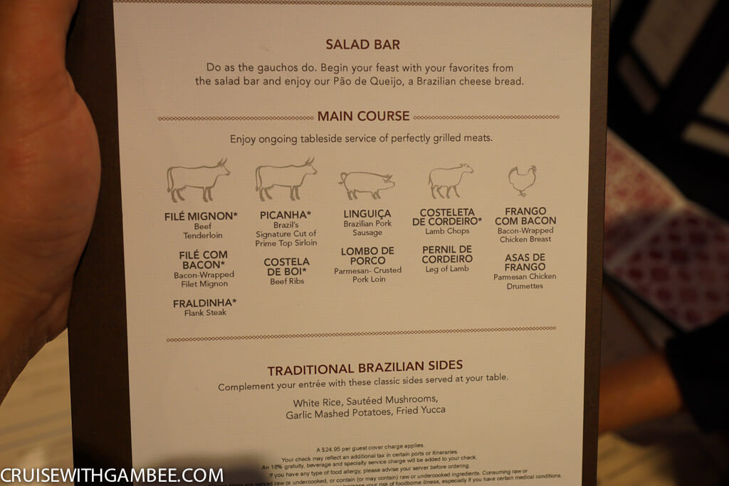 Norwegian Escape Moderno Churrascaria Menu