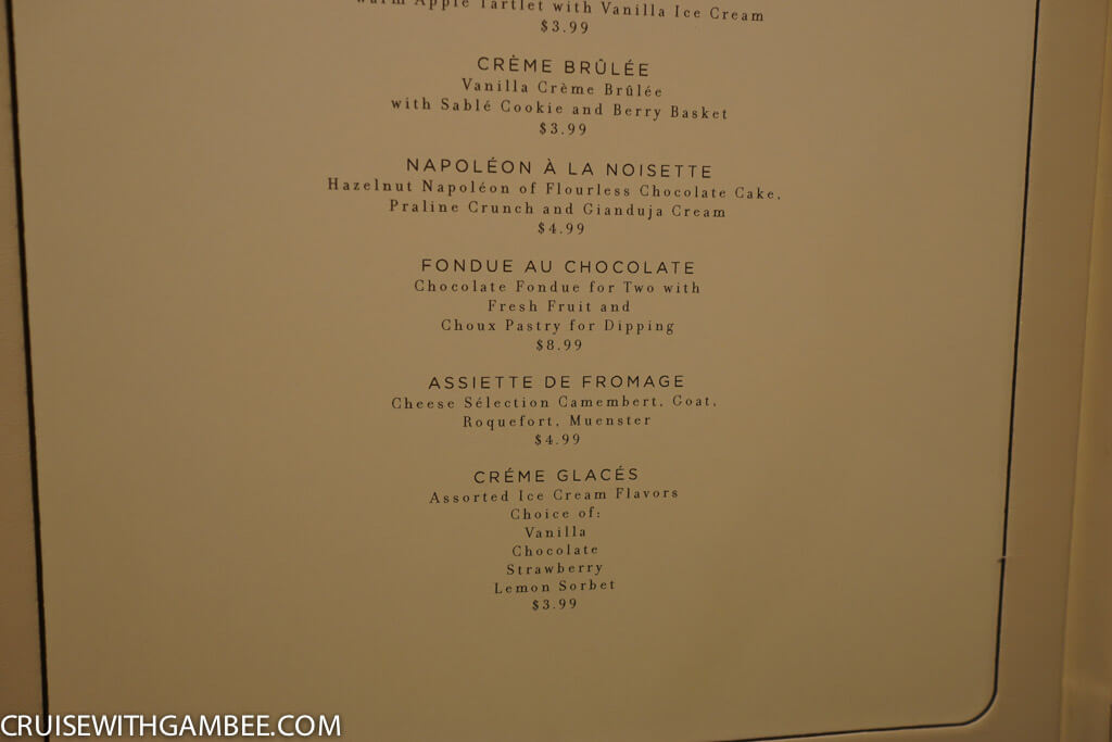 Norwegian Escape Le Bistro Menu