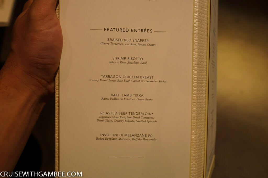 Norwegian Escape Main Dining room Menu