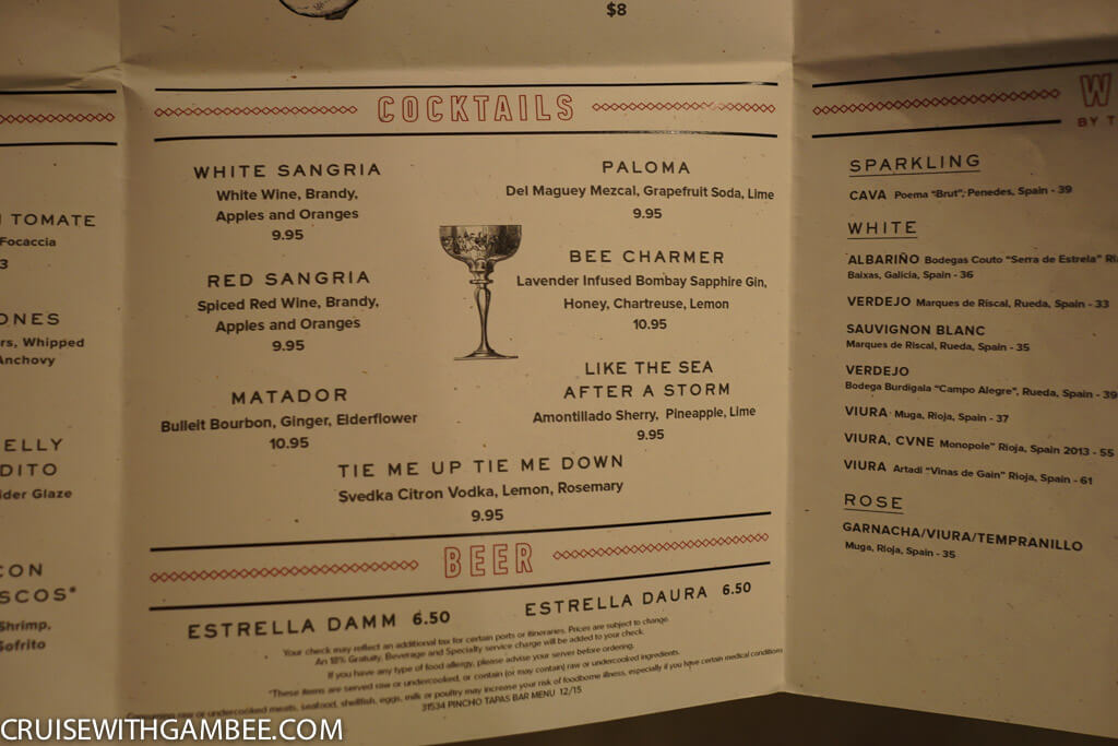 Norwegian Escape Pinchos Menu