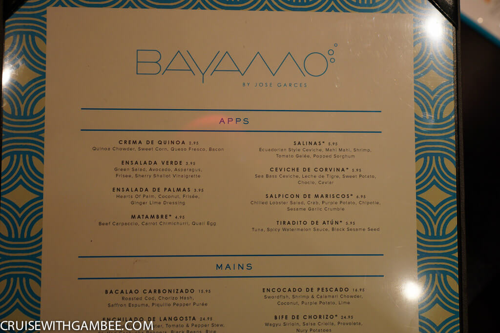 Norwegian Escape Bayamo Menu