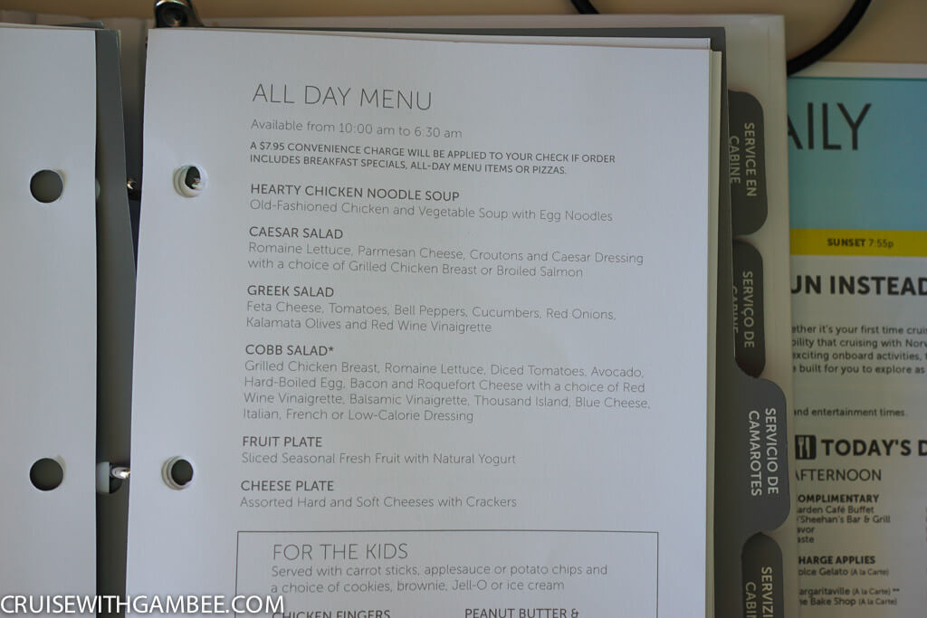 Norwegian Escape Room Servie Menu