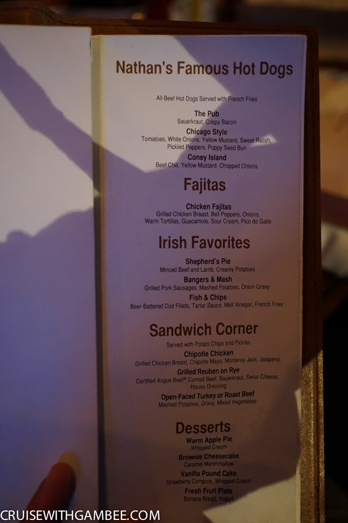 Norwegian O'Sheehan's Menu