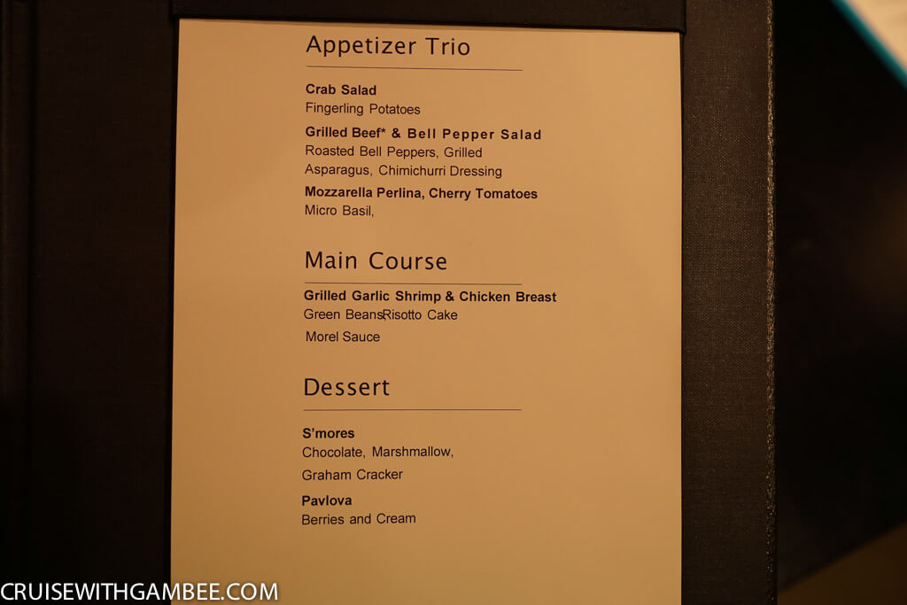 Norwegian Escape The Supper Club Menu
