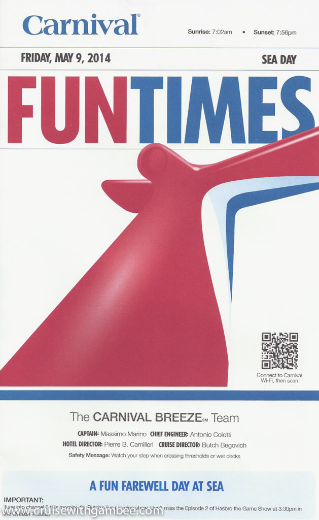Carnival Breeze FunTimes Daily Itinerary