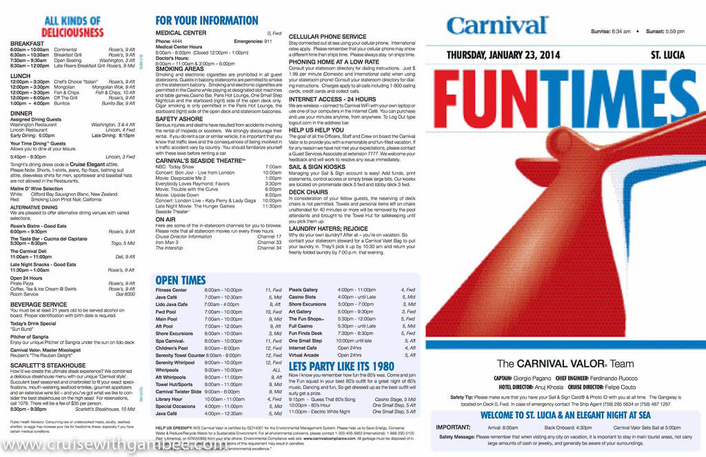 Carnival Valor Funtimes Daily Itinerary – cruise with gambee